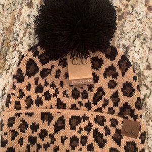 Leopard/cheetah print NEW CC Beanie pompom top